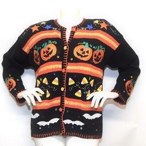 Halloween Fall Pumpkin womens cardigan sweater XL